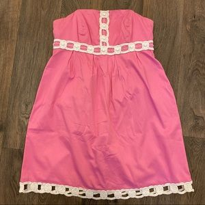 Lilly Pulitzer Pink White Strapless Dress Size 10